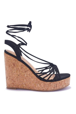 Black Lace Up Cork Wedges