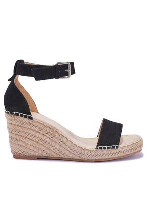 Black PU Espadrille Wedges with Gold Stud Details