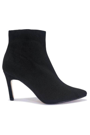 Black Suede Pointed Toe Stiletto Calf Boots