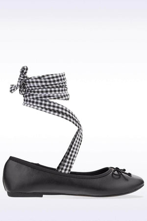 Black Tartan Lace Up Ballet Pumps-Flats-Hidden Fashion