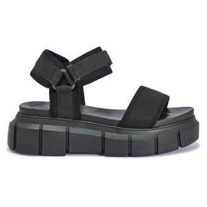 Black Chunky Velcro Sports Sandals