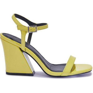 Lime Green Patent Block Heel Sandals