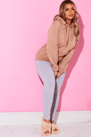 Grey Jersey Ankle Zip Leggings