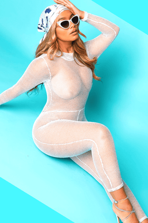 White Fishnet Glitter Jumpsuit
