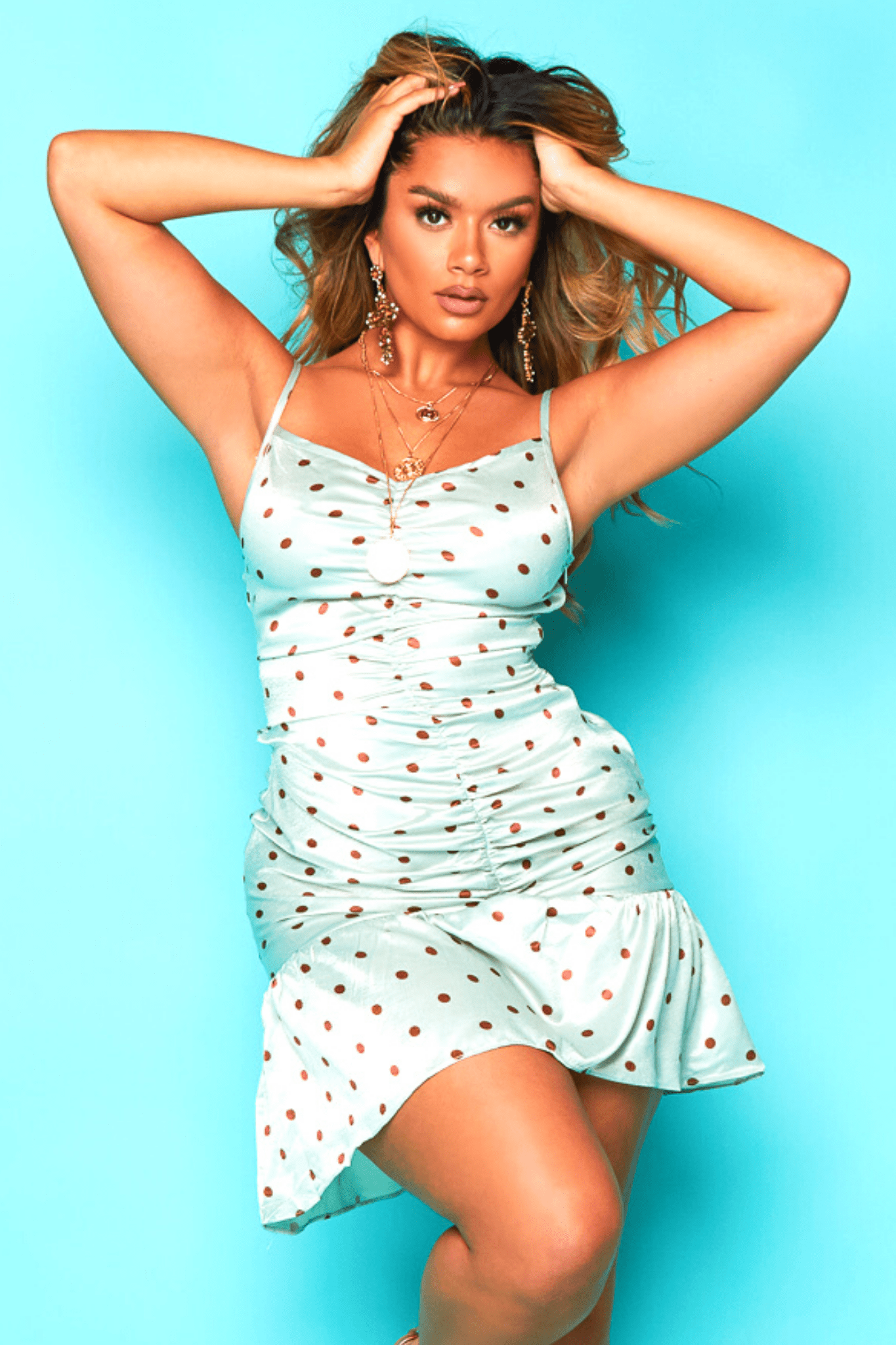 Mint Green Polkadot Ruched Cami Dress