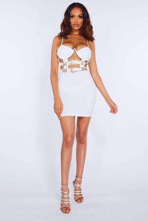 White V Bar Bustier Cut Out Belted Dress