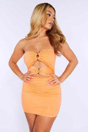 Neon Orange Front Cut Out Ruched Dress