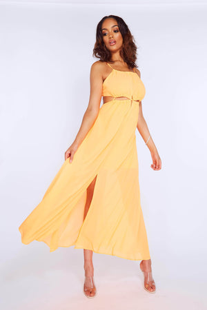 Neon Orange Cut Out Chiffon Maxi Dress