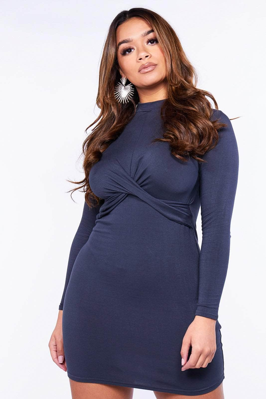 Charcoal Front Twist Jersey Dress