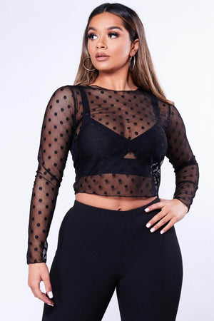 Black Polkadot Mesh Top