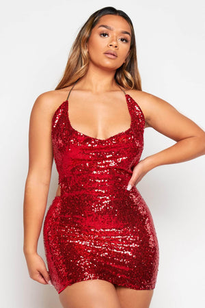 Red Sequin Plunge Neck Mini Dress with Choker