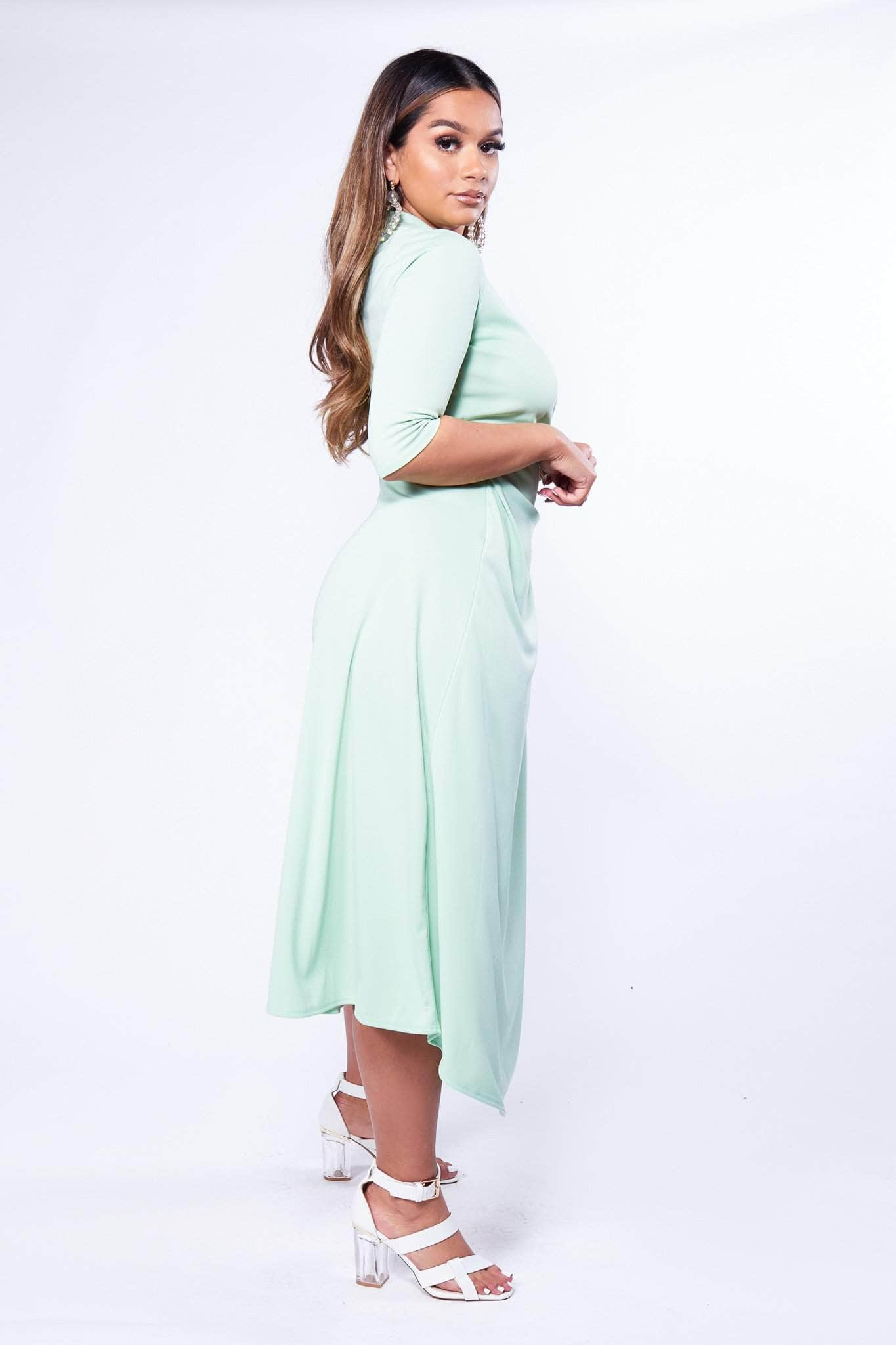 Mint Green Wrap Dress with Gold Safety Pin Clasp-Dresses-Hidden Fashion