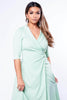 Mint Green Wrap Dress with Gold Safety Pin Clasp