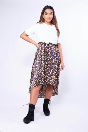 White T-Shirt Dress with Leopard Print Waterfall Skirt
