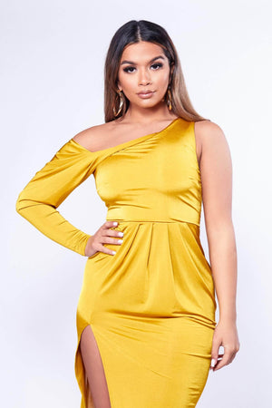 Yellow One Sleeve Midi Dress with Drape Detailing-Dresses-Hidden Fashion
