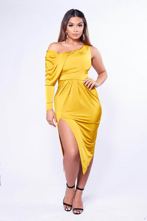 Yellow One Sleeve Midi Dress with Drape Detailing