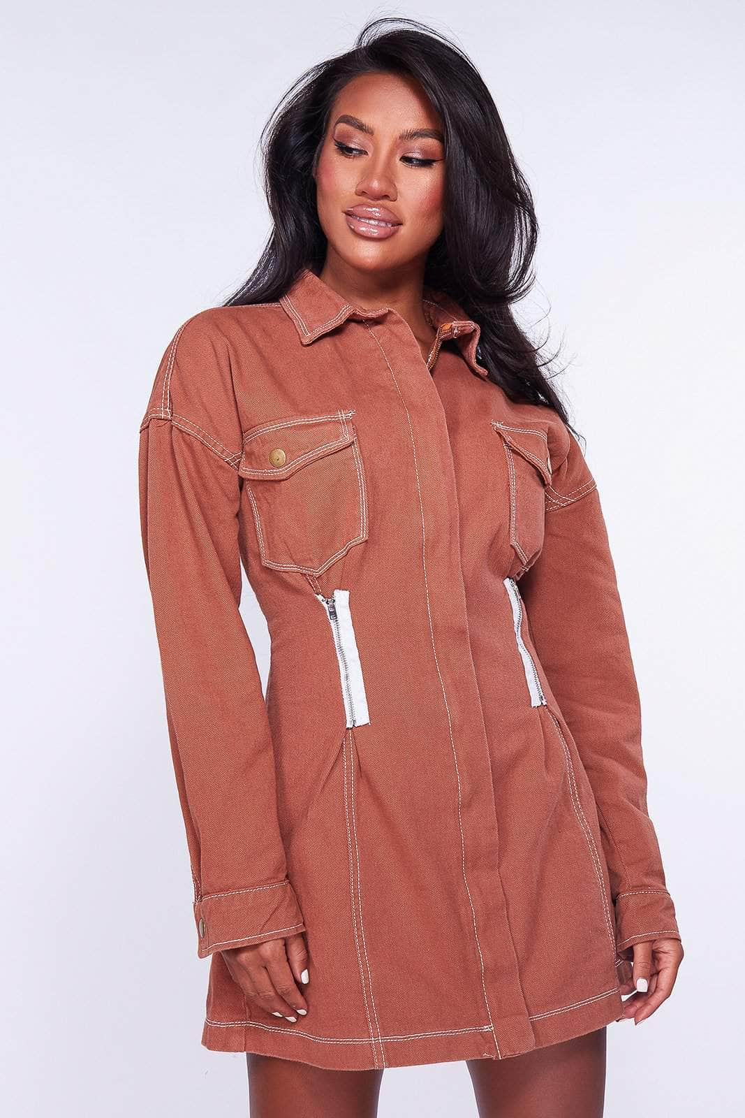 Rust Denim Shirt Dress