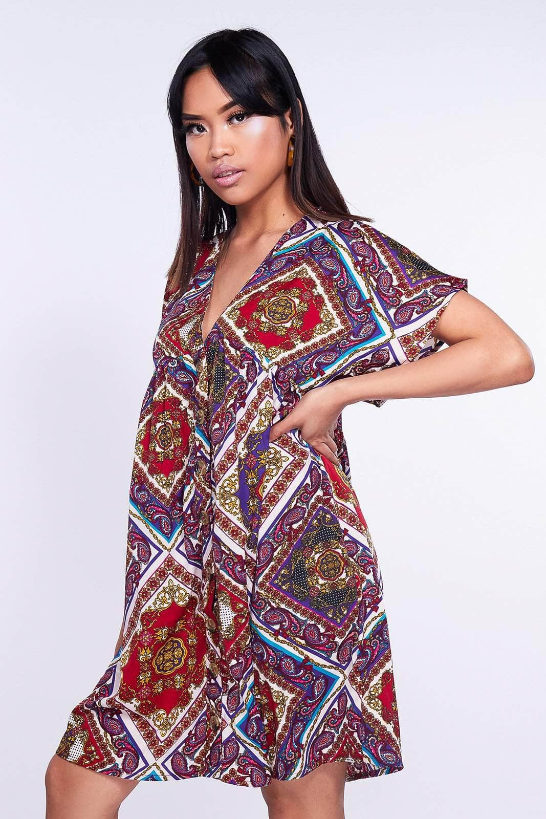 Multicolored Paisley Printed Shift Dress