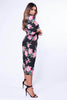 Black & Pink Floral Printed Wrap Dress