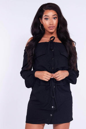 Black Bardot Utility Dress