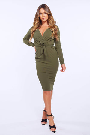 Khaki Wrap Bodycon Midi Dress