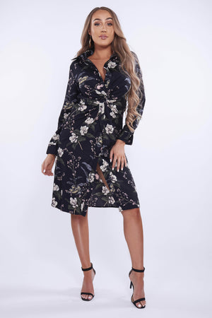 Black Floral Knot Shirt Dress