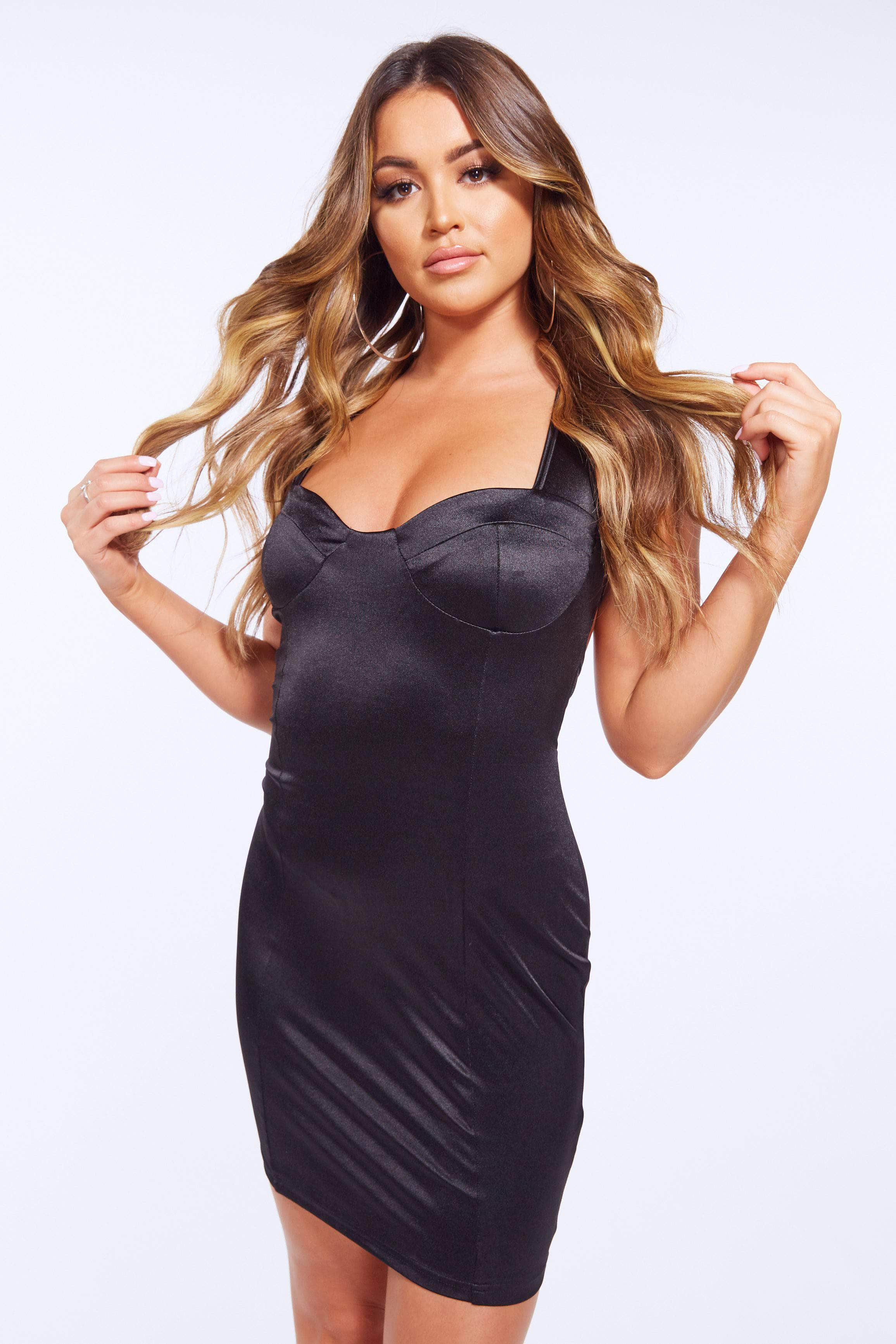 Black Satin Bustier Cross Over Bodycon Dress