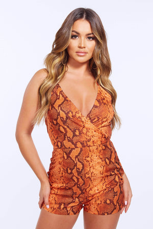 Orange Snake Wrap Halter Neck Playsuit
