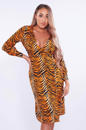 Orange Tiger Print Wrap Buttoned Dress