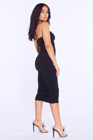 Black Ruched Slinky Bandeau Dress