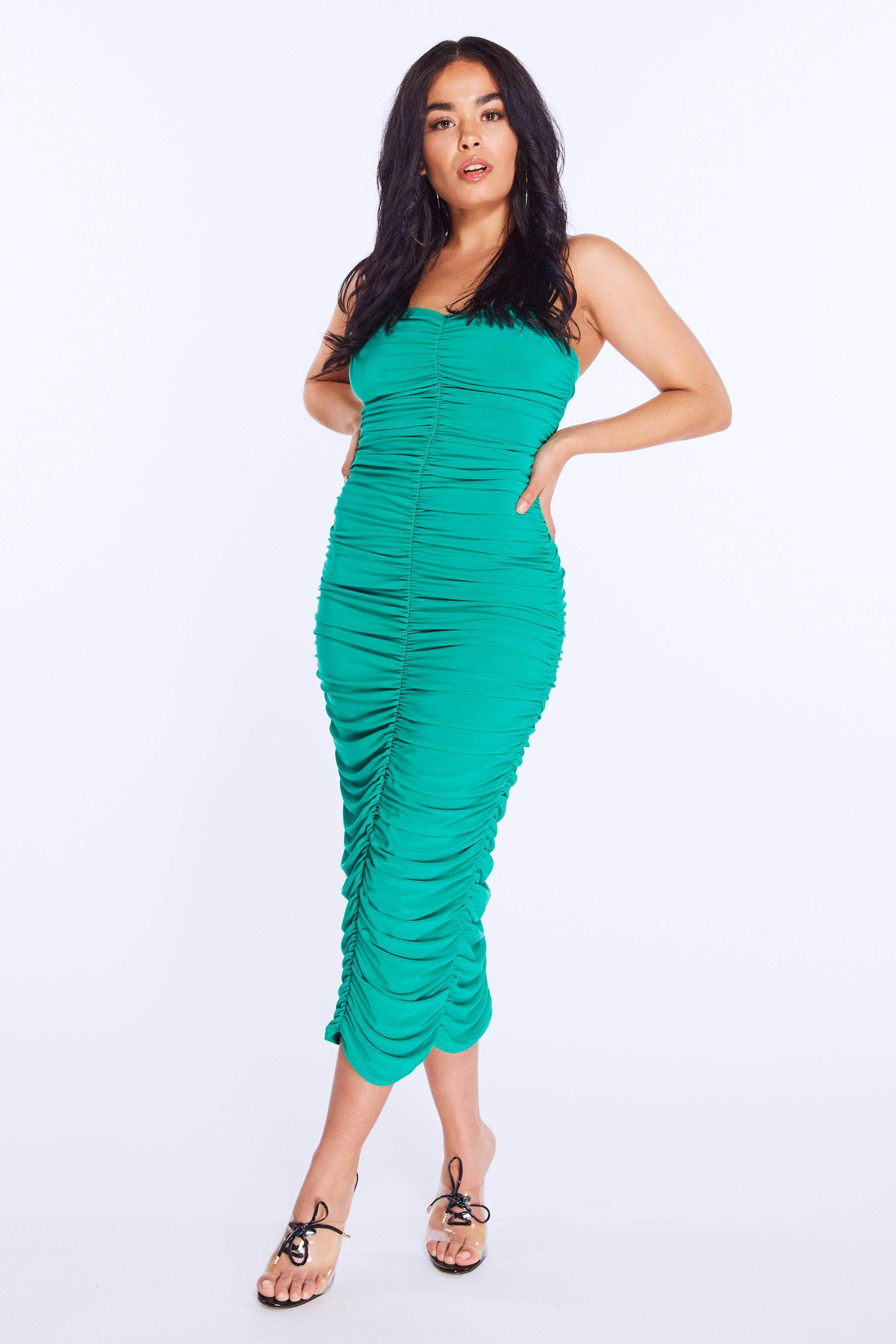 Green Ruched Slinky Bandeau Dress