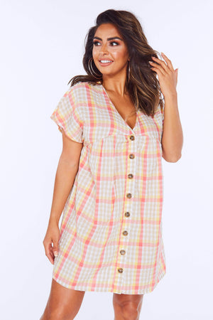 Pink Checked Buttoned Smock Dress