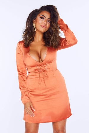 Rust Satin Plunge Corset Dress