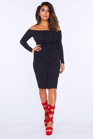 Black Knitted Bodycon Bardot Dress