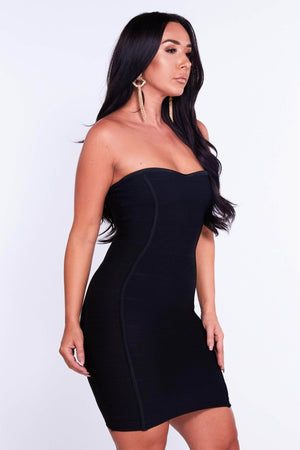 Black Bandeau Panelled Bodycon Dress