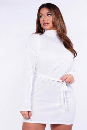White Ribbed High Neck Jumper Dress