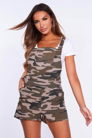 Camo Printed Dunagree Playsuit