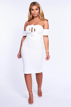 White Cut Out Front Bandeau Midi Dress