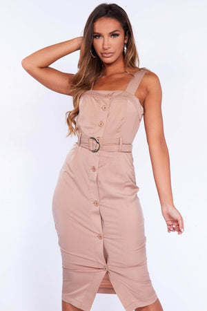 Mocha Buttoned D Ring Belted Dress