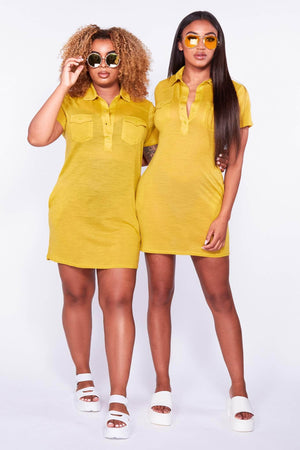 Yellow Oversize Jersey Shirt Dress