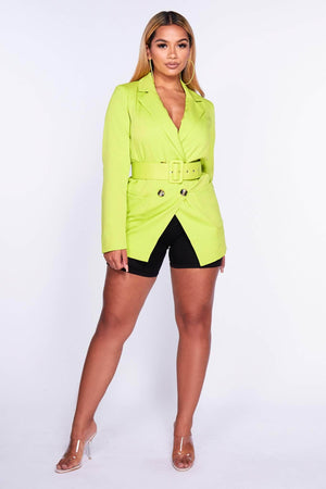 Lime Green Belted Blazer