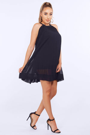 Black Chiffon Pleated Shift Dress