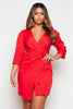 Red Front Wrap Belted Dress
