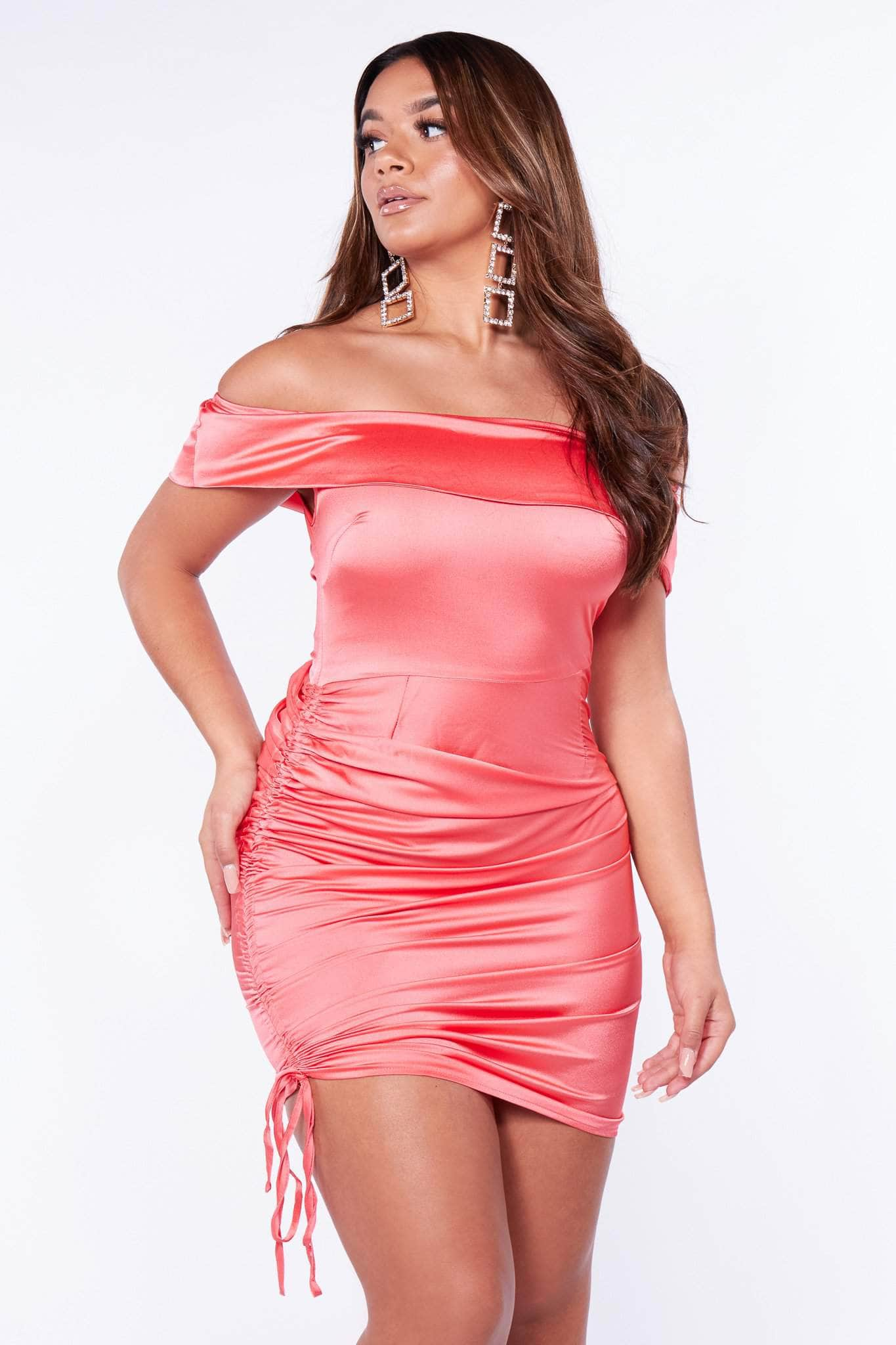 Coral Ruched Satin Mini Dress