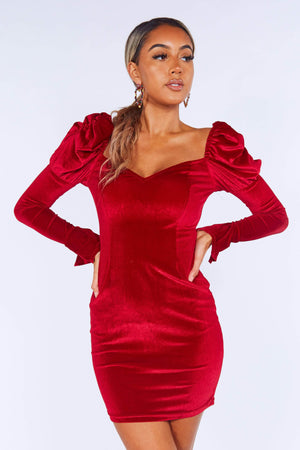 Red Velvet Puff Sleeve Mini Dress