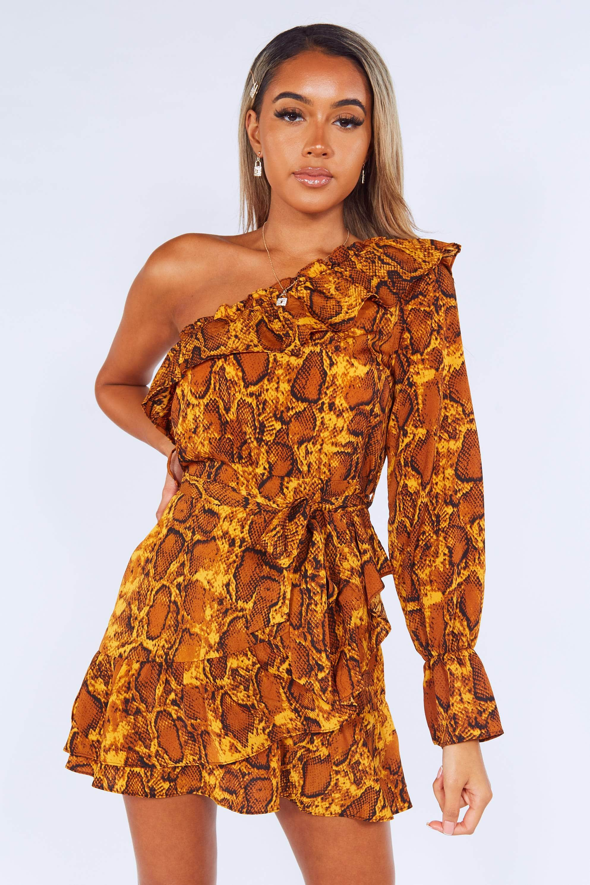 Snakeskin Frilly One Shoulder Wrap Dress