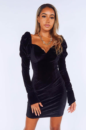Black Velvet Puff Sleeve Mini Dress