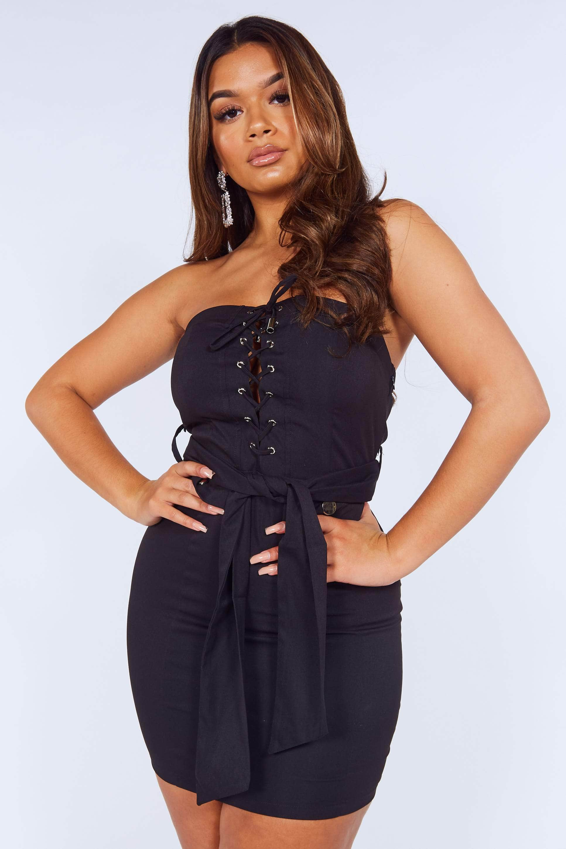 Black Bandeau Corset Mini Belted Dress