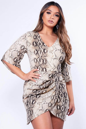 Snake Printed V Neck Midi Shift Dress
