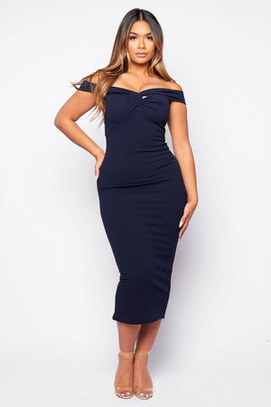 Navy Front Knot Maxi Dress